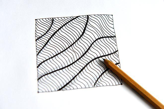 Рисуем танглы поэтапно: волнистые линии