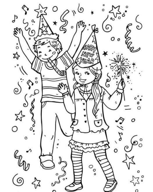 Childrens-New-Year-Party-Coloring-Page