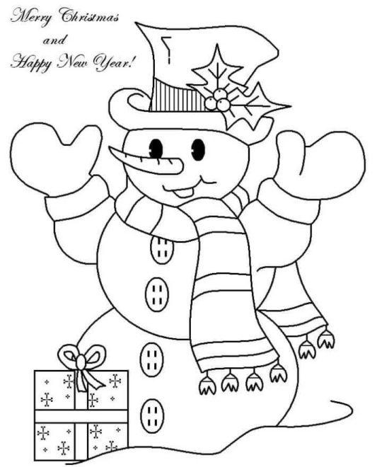 Snowman-Wishing-Happy-New-Year-Coloring-Page