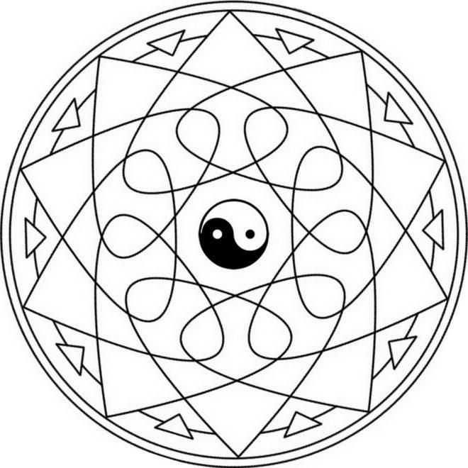 yin-yang-mandala-coloring-page-Инь Ян Мандала