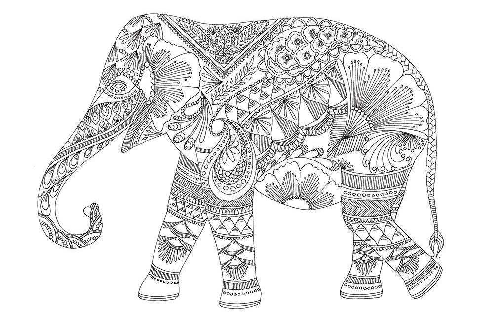Антистресс - раскраска слон для детей и взрослых, распечатать