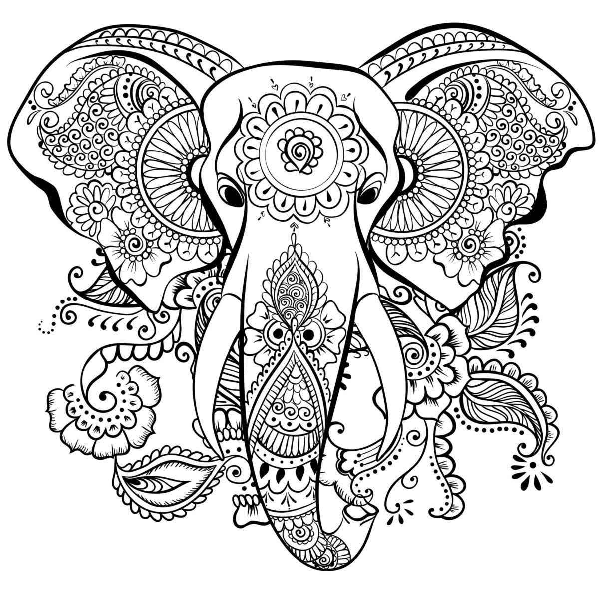 антистресс раскраска слон для детей и взрослых распечатать