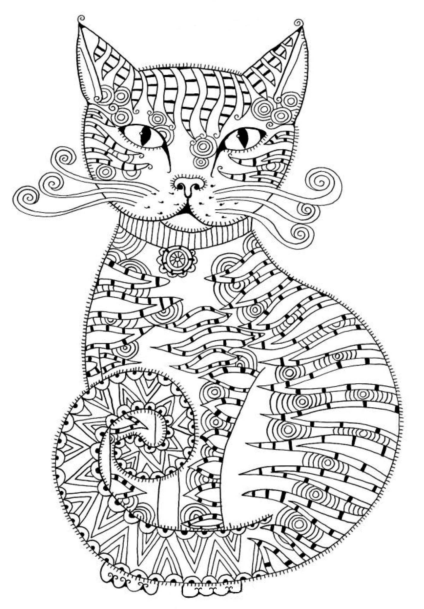 Кототерапия: раскраски антистресс кошки и коты скачать ...