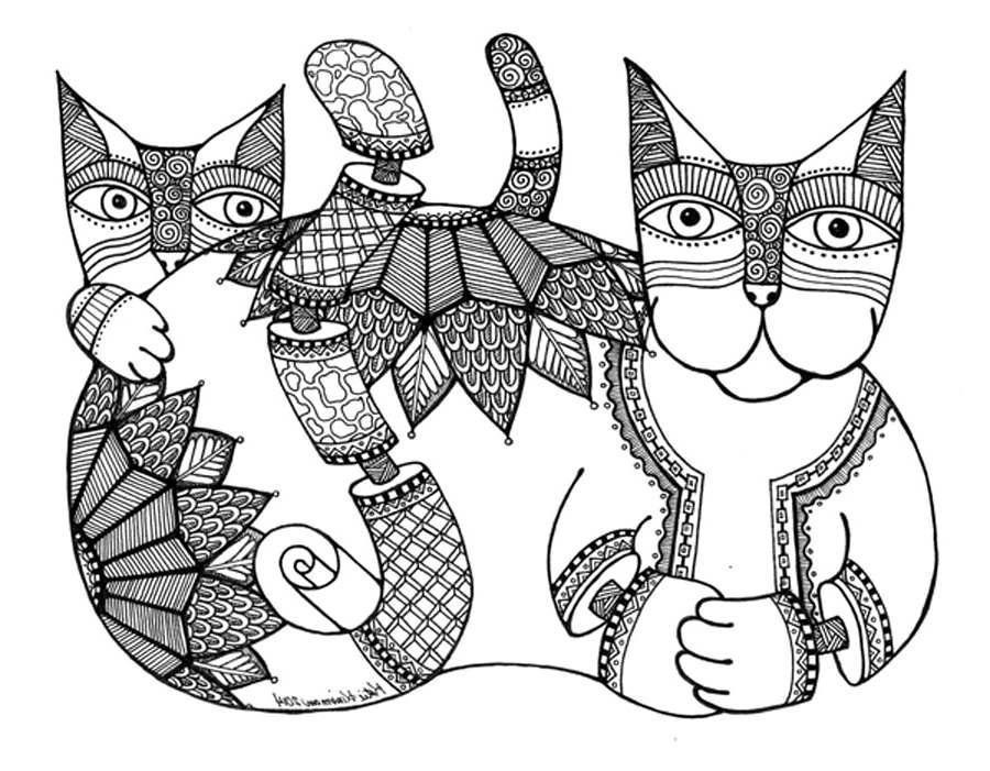 кототерапия раскраски антистресс кошки и коты скачать