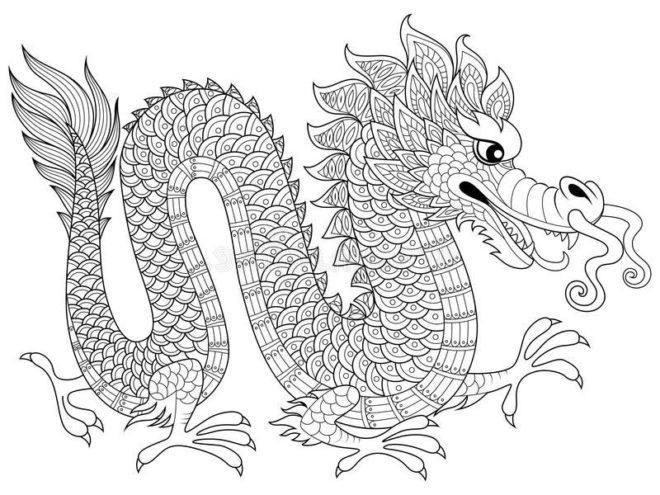 chinese-dragon-zentangle-antistress-raskraska-coloring-page