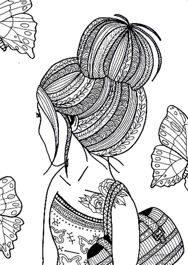Шаблоны антистресс раскраски девушки распечатать: лицо, аниме