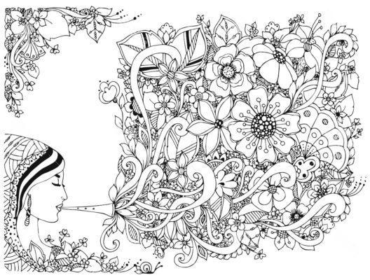antistress-raskraski-cvety-devuska-luna, doodle, zenart.